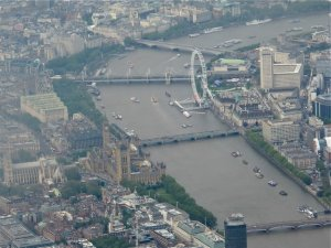 Aerial View of London - Big Ben and The Eye Ferris Wheel